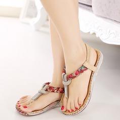 Kvinner Lær Flat Hæl Sandaler Flate sko Titte Tå med Rhinestone Flettet Stropp Elastisk bånd sko (087115657)