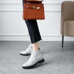 Женщины кожа Устойчивый каблук На плокой подошве Ботинки Полусапоги с Шнуровка обувь (088139483)