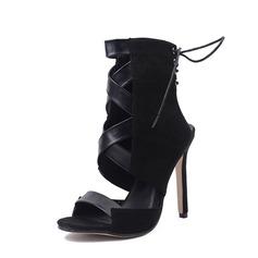 Frauen Veloursleder PU Stöckel Absatz Sandalen Absatzschuhe Peep Toe Slingpumps mit Zuschnüren Schuhe (087151071)