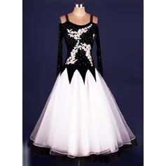 Женщины Одежда для танцев Спандекс Органза Латино Платья (115091489)