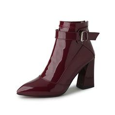 Женщины Лакированная кожа Устойчивый каблук Полусапоги с пряжка обувь (088097105)