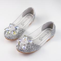 A menina de Fechados Glitter espumante Heel plana Sem salto Sapatas do florista com Strass Espumante Glitter (207117272)