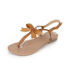 Kunstleder Flascher Absatz Sandalen Flip Flops mit Des Bowknot Schuhe (087047496)