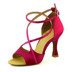 Женщины Атлас На каблуках Сандалии На каблуках Латино Обувь для танцев (053095729)
