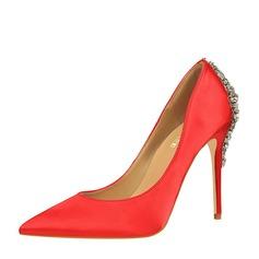 Женщины Атлас Высокий тонкий каблук На каблуках Закрытый мыс с горный хрусталь пряжка обувь (085147465)