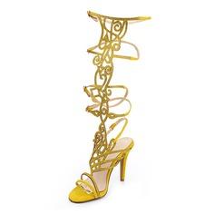 Äkta läder Stilettklack Sandaler Slingbacks med Strass skor (087050314)