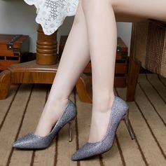 Женщины Мерцающая отделка Высокий тонкий каблук На каблуках Закрытый мыс с Мерцающая отделка обувь (085113645)
