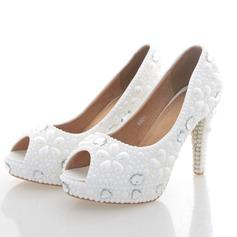 Women's Real Leather Stiletto Heel Peep Toe Platform Pumps With Imitation Pearl (047095347)