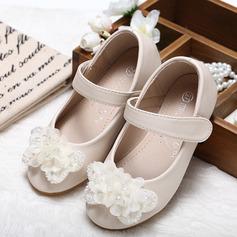 Fille de Bout fermé similicuir talon plat Chaussures de fille de fleur avec Bowknot Strass (207095554)