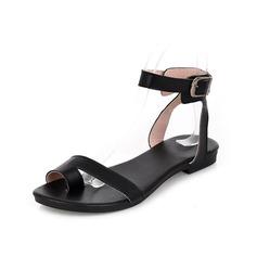 Äkta läder Flat Heel Sandaler Slingbacks med Spänne skor (087049386)