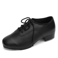 Niños Piel Tacones Tap con Cordones Zapatos de danza (053041985)