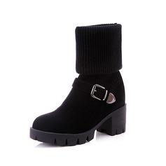 Замша Низкий каблук Сапоги до колен с пряжка обувь (088097057)