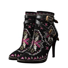 Женщины Натуральня кожа Высокий тонкий каблук Полусапоги обувь (088073589)