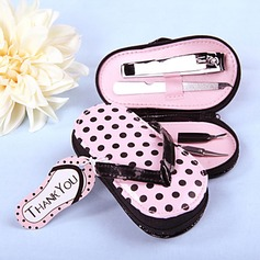 Aço inoxidável Kit Manicure com Rosa Polka Dot Caso Flip Flop (051009899)