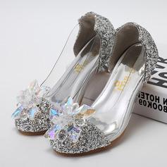A menina de Fechados imitação de couro Glitter espumante low Heel Bombas Sapatas do florista com Strass (207095566)