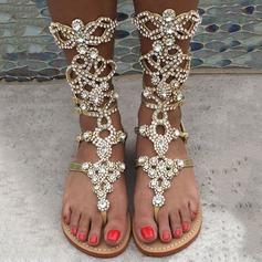 Женщины кожа Плоский каблук Сандалии На плокой подошве Открытый мыс Сапоги до середины голени с горный хрусталь Застежка-молния обувь (087124916)