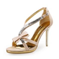 Kvinner Lær Stiletto Hæl Sandaler Platform Titte Tå med Rhinestone Bowknot Elastisk bånd sko (087113609)