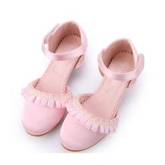 Flicka Stängt Toe Silk som Satin låg klack Pumps Flower Girl Shoes med Oäkta Pearl Kardborre Rufsar (207150975)
