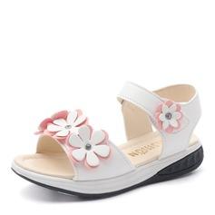 Jentas Titte Tå Leather flat Heel Sandaler Flate sko Flower Girl Shoes med Velcro Blomst (207167106)