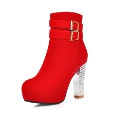 Vrouwen Suede Chunky Heel Pumps Plateau Closed Toe Laarzen Enkel Laarzen met Gesp Kristallen Hak schoenen (088071258)