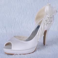 Mulher Cetim Salto cone Peep toe Plataforma Sandálias com Contas Imitação de Diamantes (047024172)