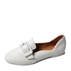 Женщины кожа Плоский каблук На плокой подошве Закрытый мыс обувь (086155851)