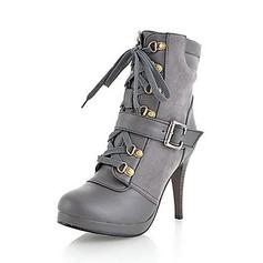 Konstläder Stilettklack Pumps Plattform Stängt Toe Stövlar Boots med Spänne Bandage skor (088013683)