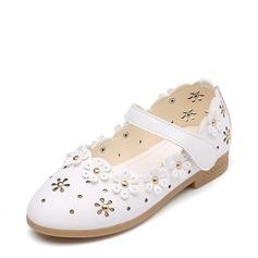 Jentas Lukket Tå Leather flat Heel Flate sko Flower Girl Shoes med Blomst Hul ut (207153580)