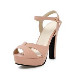 кожа Устойчивый каблук Сандалии Открытый мыс обувь (087063376)