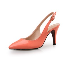 Women's Patent Leather Stiletto Heel Pumps Closed Toe shoes (085094477)