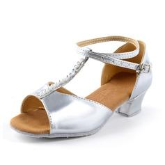 Детская обувь кожа На каблуках Сандалии Латино с Ремешок на щиколотке Обувь для танцев (053067918)
