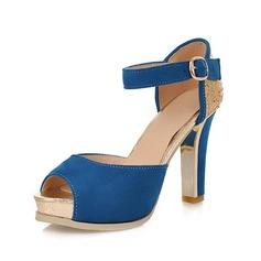 Mocka Stilettklack Sandaler Peep Toe med Spänne skor (087049414)