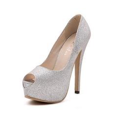 Glittrande Glitter Stilettklack Sandaler Pumps Peep Toe skor (087050208)