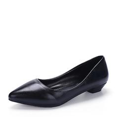 Женщины кожа Низкий каблук Закрытый мыс обувь (085150517)