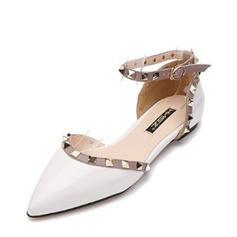 Женщины PU Плоский каблук На плокой подошве Закрытый мыс с заклепки обувь (086141367)