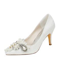 Женщины шелка как атласное Высокий тонкий каблук На каблуках с хрусталь жемчуг (047128171)