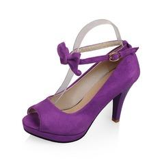 Замша Высокий тонкий каблук Сандалии Открытый мыс обувь (087062807)