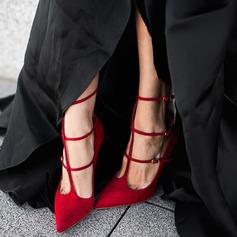 Женщины кожа Высокий тонкий каблук На каблуках Закрытый мыс с пряжка обувь (085148357)