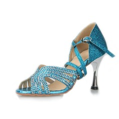 Women's Sparkling Glitter Heels Latin With Rhinestone Dance Shoes (053039395)