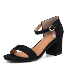 Женщины Замша Устойчивый каблук Сандалии На каблуках с Имитация Перл обувь (087155485)