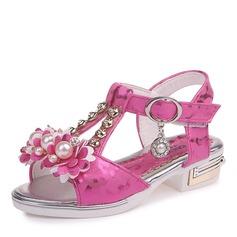 девичий Открытый мыс дерматин низкий каблук Сандалии На плокой подошве Обувь для девочек с хрусталь жемчуг (207166167)