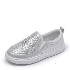 Jentas Lukket Tå Leather flat Heel Sandaler Flate sko Flower Girl Shoes med Rhinestone (207154503)