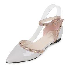 Женщины кожа Плоский каблук На плокой подошве Закрытый мыс обувь (086155853)