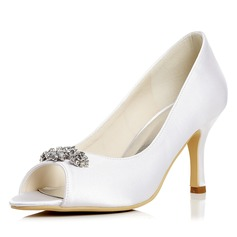 Kvinnor Satäng Stilettklack Peep Toe Pumps Sandaler med Strass (047052660)