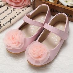 Fille de Bout fermé similicuir talon plat Chaussures plates Chaussures de fille de fleur avec Une fleur (207095560)