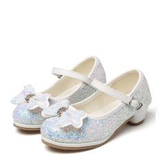 Jentas Round Toe Sparkling Glitter lav Heel Pumps Flower Girl Shoes med Bowknot Rhinestone (207149135)
