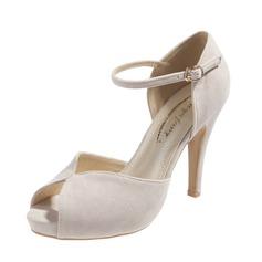 Замша Высокий тонкий каблук Сандалии На каблуках Платформа Открытый мыс с пряжка обувь (087059849)