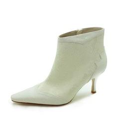 Vrouwen Satijn Stiletto Heel Laarzen Closed Toe met Stitching Lace (047017788)