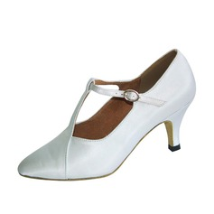 Mulheres Cetim Saltos Bombas Salão de Baile com Correia -T Sapatos de dança (053053508)