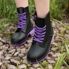 Женщины PVC Низкий каблук Ботинки Сапоги до середины голени Резиновые сапоги с Шнуровка обувь (088131035)